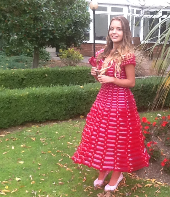 Red balloon dress made for filming with ITV